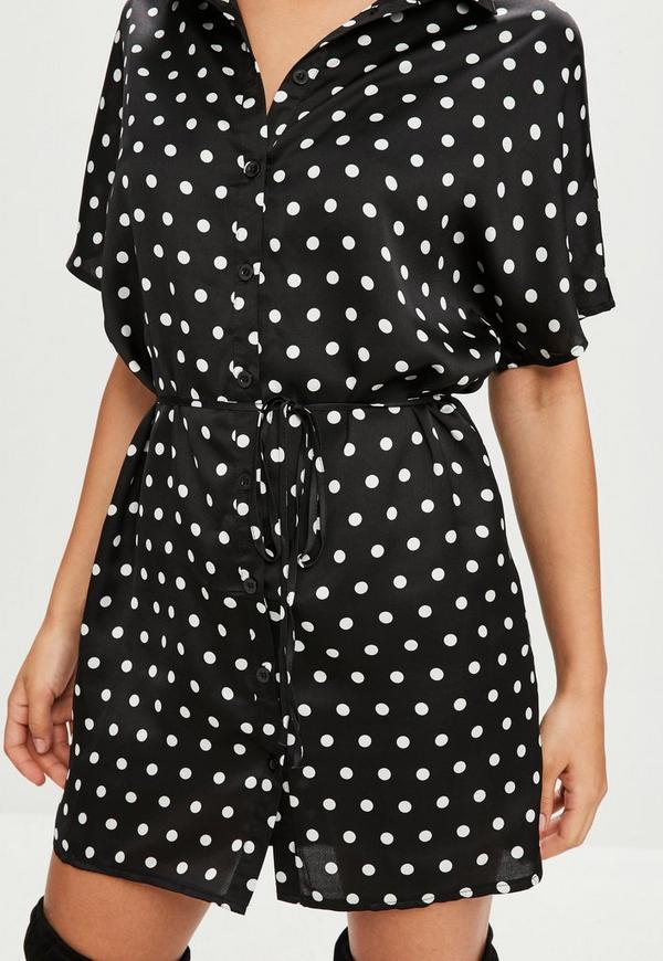 Black Polka Dot Short Sleeve Shirt Dress Missguided