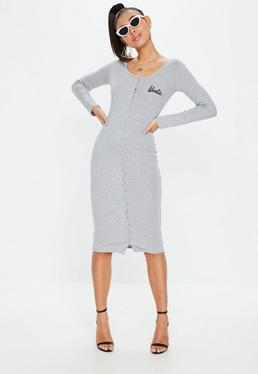 Barbie x Missguided Grey Long Sleeve Popper Midi Dress