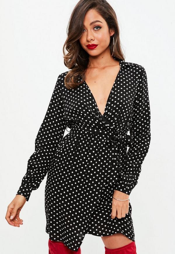 Black Polka Dot Wrap Mini Dress Missguided