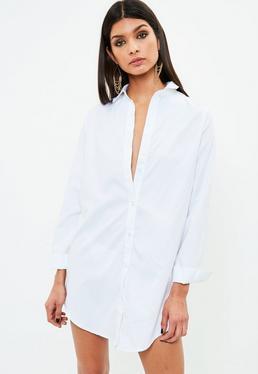 White Peached Shirt Dress