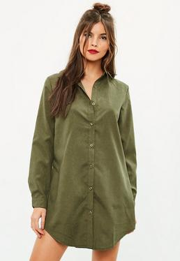 Khaki Soft Touch Shirt Dress