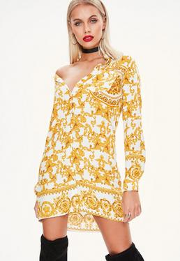 White Print Shirt Dress