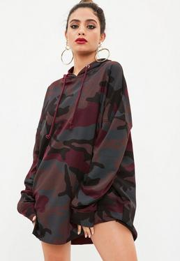 Burgundowa sukienka bluza moro