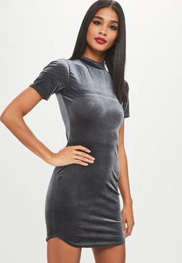 Grey High Neck Short Sleeve Velvet Dress