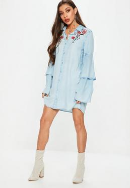 Blue Embroidered Shirt Dress