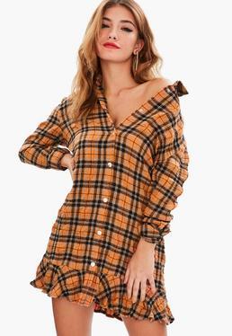 Orange Crinkled Plaid Shirt Dress