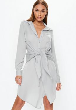 Gray Tie Belt Shirt Dress