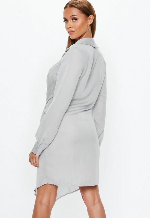 e0c9cbb086bf ... Robe-chemise grise détail nœud. Précédent Suivant