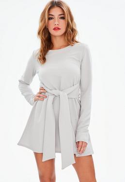 Gray Tie Waist Sweatshirt Dress