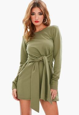 Green Tie Waist Sweater Dress