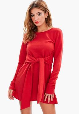 Red Tie Waist Sweater Dress