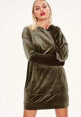 Khaki Velour Hooded Sweater Dress