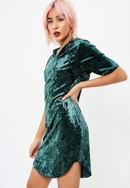 Vestido sudadera con capucha de terciopelo arrugado en verde