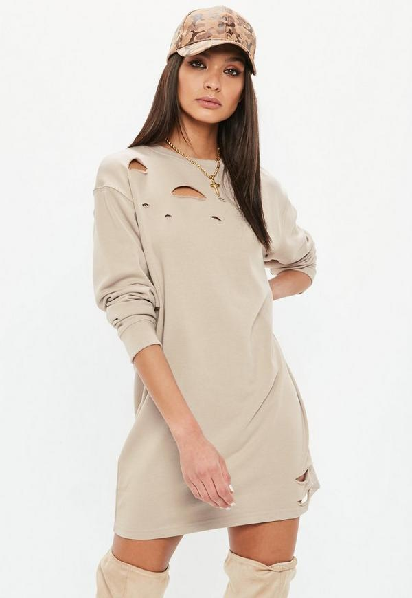 2a32f13863e Nude Ripped Oversized Sweater Dress Missguided
