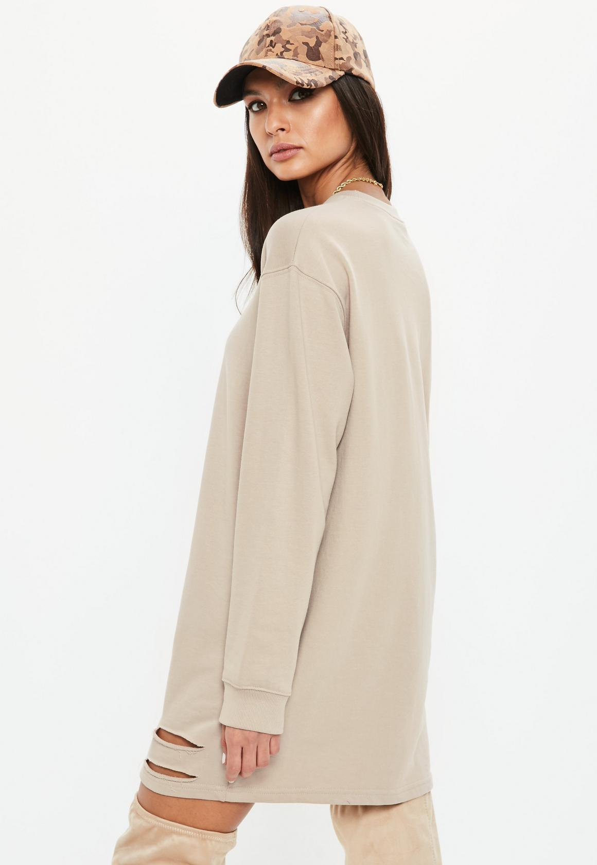 98ce35a4d01 Missguided - Nude Ripped Oversized Sweater Dress