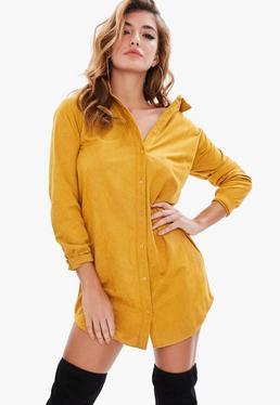 Yellow Faux Suede Shirt Dress