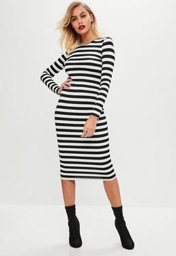 White Stripe Bodycon Dress