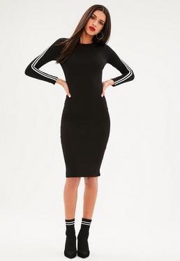Black Sports Stripe Long Sleeve Midi Dress