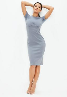 Gray Short Sleeve Corset Detail Midi Dress