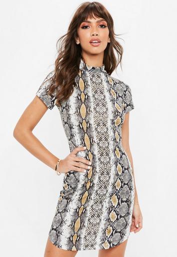 Fabrics nyc high neck tan dress print snake bodycon