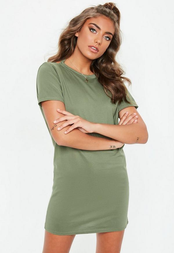 Khaki V Back Tshirt Dress by Missguided