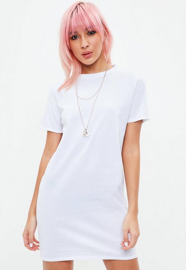 White short sleeve v back t shirt dress missguided for Short sleeve white dress shirt