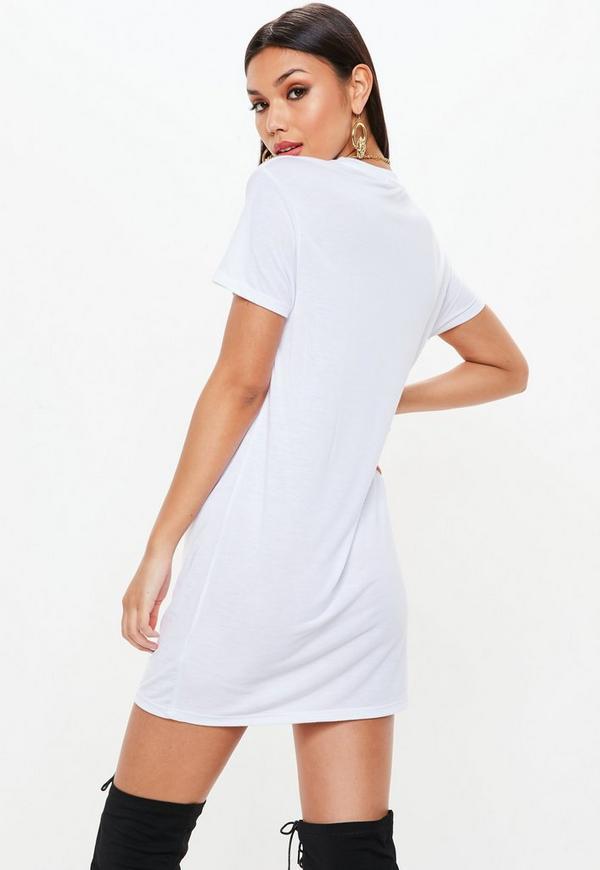 White racer slogan short sleeve t shirt dress missguided for Short sleeve white dress shirt