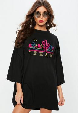 Czarna owersajzowa sukienka z kaktusami