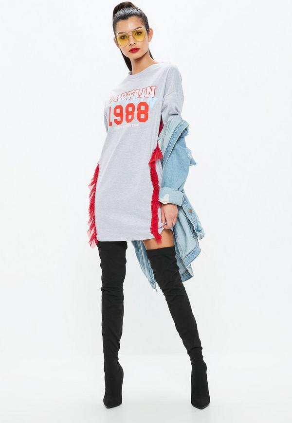 3a65cab83 White Hollywood Slogan Tshirt Dress Missguided   2019 trends   xoosha