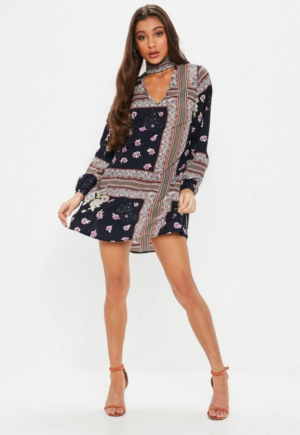 Navy Printed Long Sleeve Shift Dress Missguided