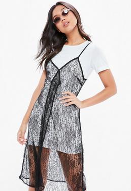 White Monochrome Lace 2 In 1 Shift Dress