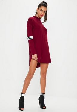 Burgundy Long Sleeve Sports Trim Shift Dress