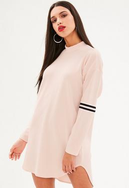 Pink Sports Trim High Neck Shift Dress
