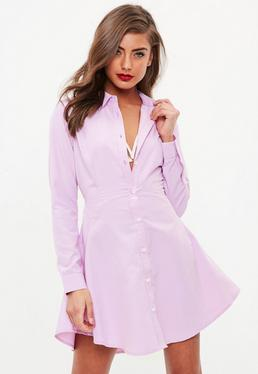 Pink Stripe Skater Shirt Dress