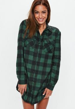 Green Checked Long Sleeve Shirt Dress