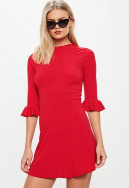 Red Frill Sleeve Rib Skater Dress