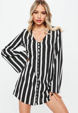 Black Monochrome Stripe Button Up Flared Sleeve Skater Dress