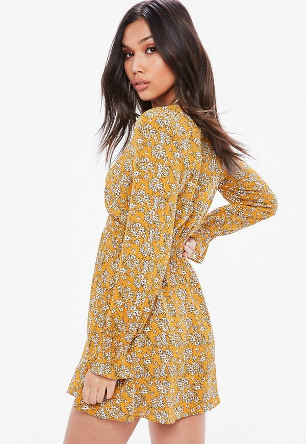 mustard floral elastic waist skater dress missguided