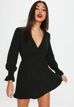 Black Elastic Waist Skater Dress