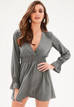 Gray Elastic Waist Skater Dress