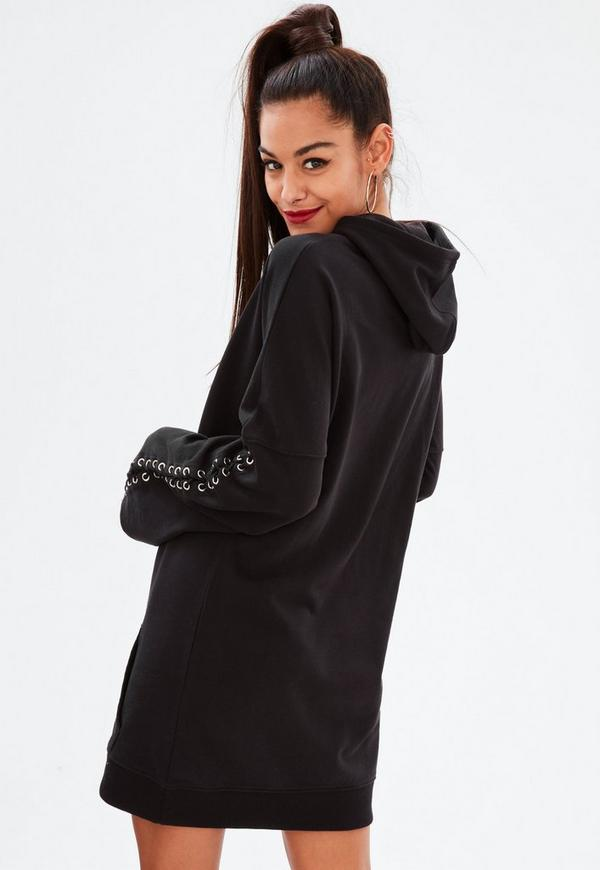 Black Long Sleeve Hooded Sweater Dress Missguided