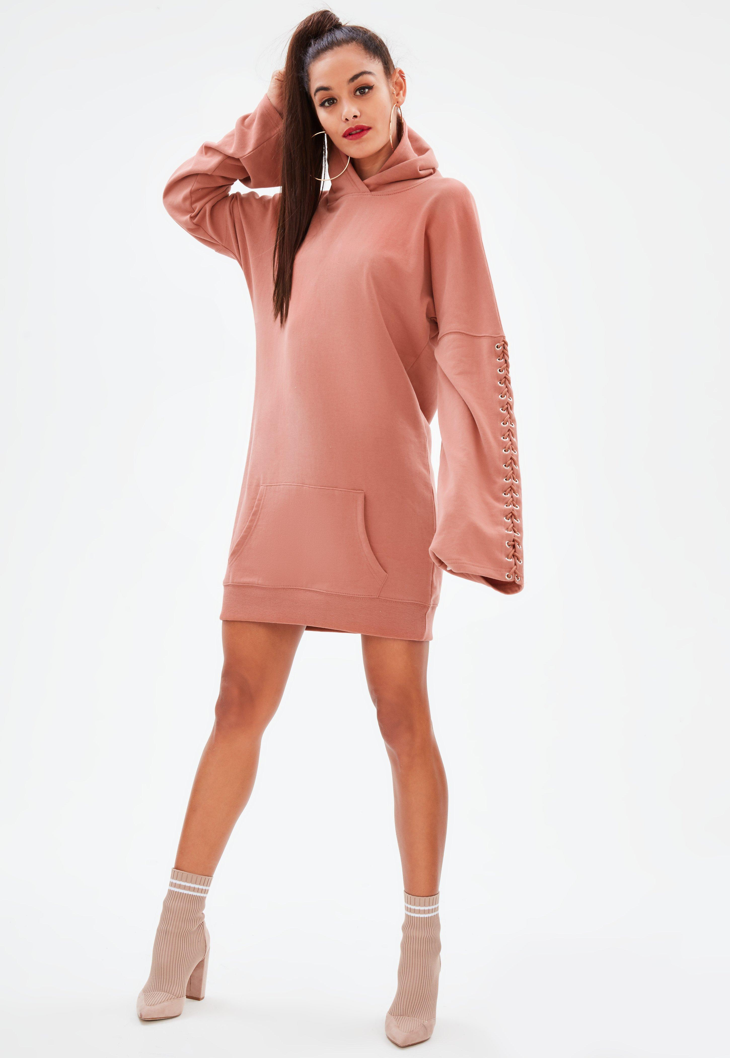 71962bf81c1aa Zeer Pink Eyelet Long Sleeve Hooded Sweater Dress