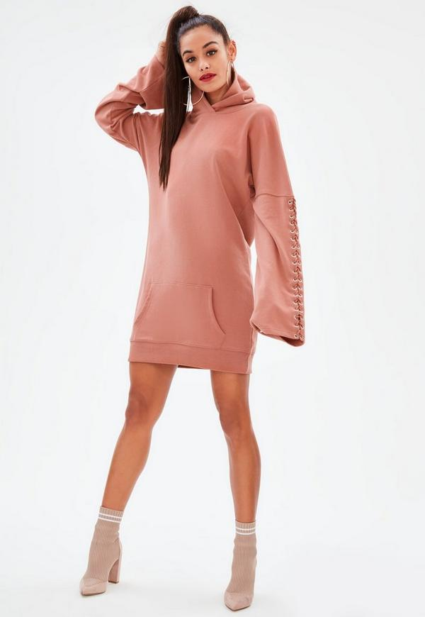Pink Eyelet Long Sleeve Hooded Sweater Dress by Missguided