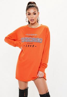 Orange Chicago Graphic Print Oversized Sweater Dress
