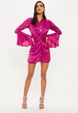 Pink Hammered Satin Twist Waist Dress