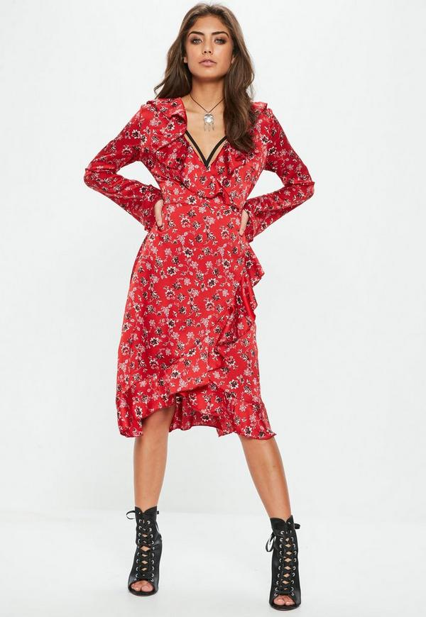 Red Floral Long Sleeve Wrap Midi Tea Dress Missguided