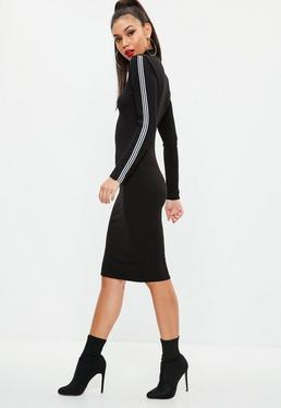 Black Jersey Sports Stripe Midi Dress