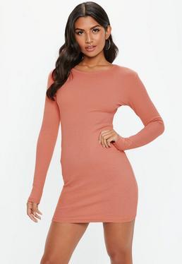 Rose Ribbed Bodycon Mini Dress