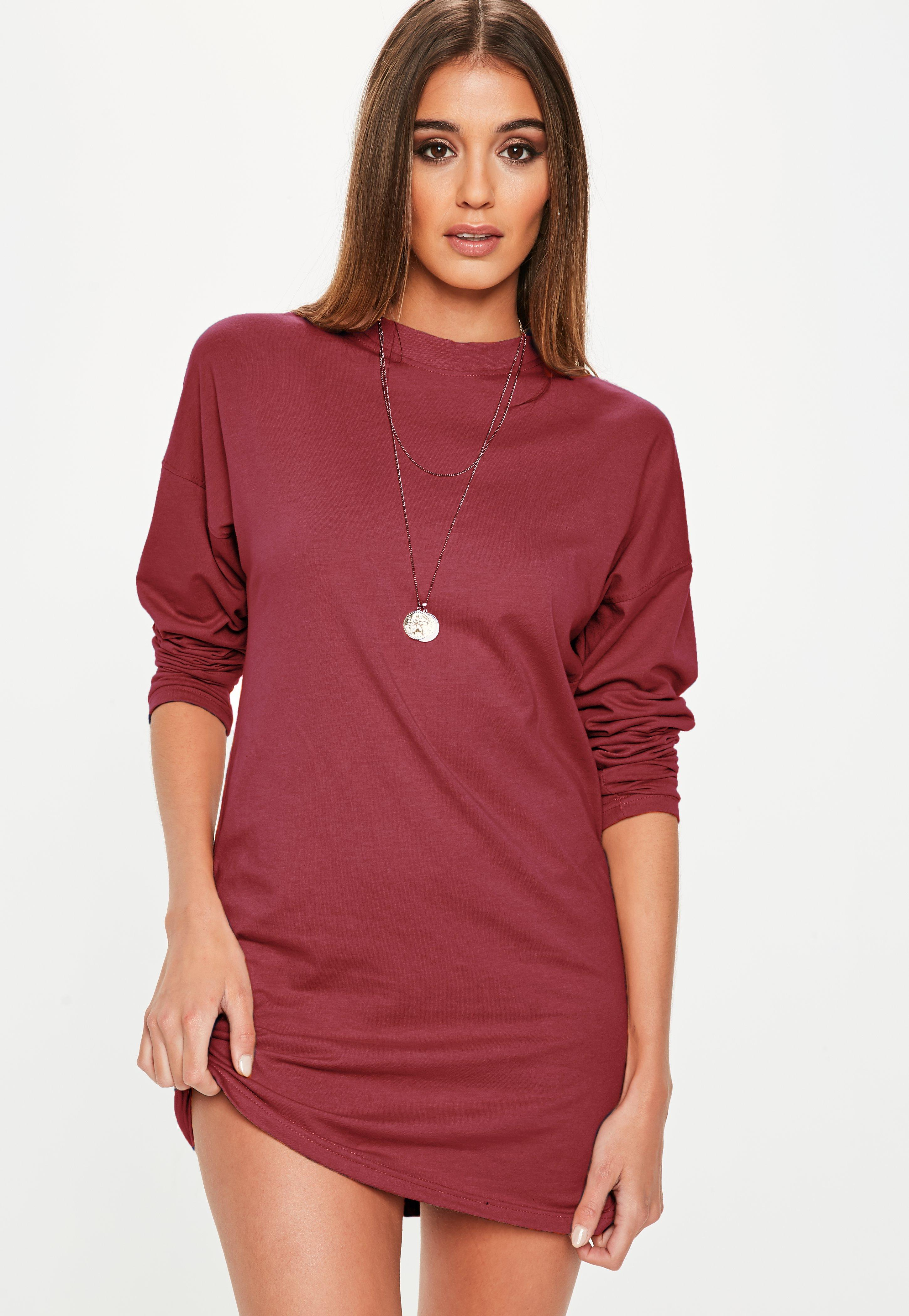 840459a0ac Burgundy Long Sleeved T-Shirt Dress