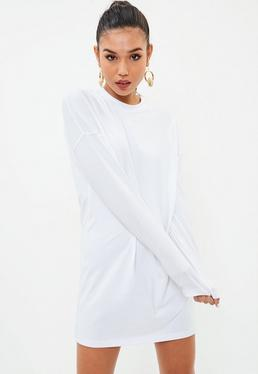 White Long Sleeve Plain T Shirt Dress